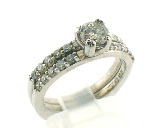18 karat white gold A Jaffe engagement set weighing 4.4 dwt.  Semi mount weight is approx .50ct.  Ctr Diamd SPRD110 .42 ct H-I, VS1. Finger size sz 5.5  Semi Price $895SPRD 110  H-I, VS $840