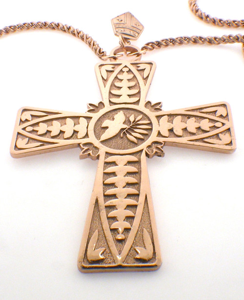 Sterling Silver Cross plated in 14 karat pink gold.  $695  approx 49 grams  also available in 14 karat pink gold  $3095