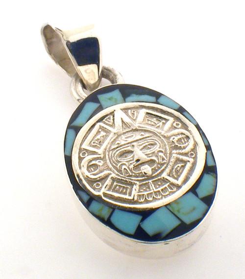 sterling silver aztec design tuurquiose pendant weighing 11.6 grams