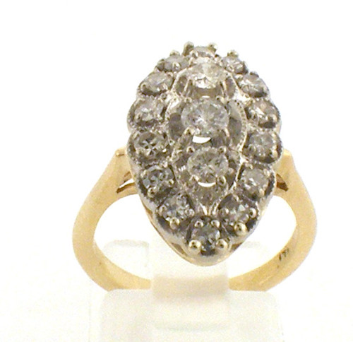 14 karat yellow and white gold diamond cluster ring weighing 6.1 grams. D~1.0ct TW Finger size 6