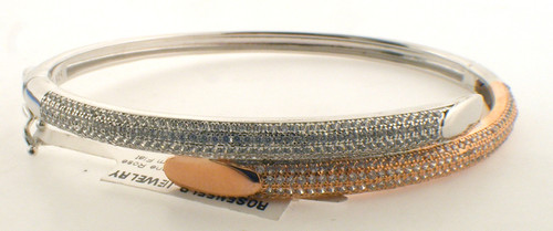 Rose plated and sterling silver pave cz bangle bracelet. The total weight of the bracelet is 13.3 grams.