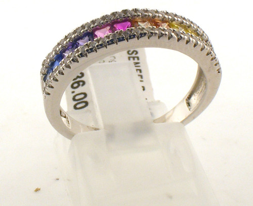 Sterling silver rainbow cz ring. The total weight of the ring is 2.8 grams and the ring is made for a finger size of 7.