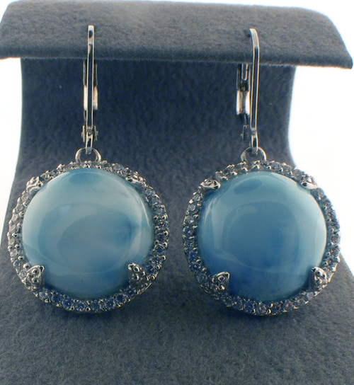 Sterling silver cz and larimar drop earrings. The total weight of the earrings are 8.2 grams.