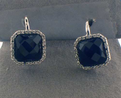 sterling silver cz square drop earring with onyx center stones. The total weight of the earrings are 4.6 grams.