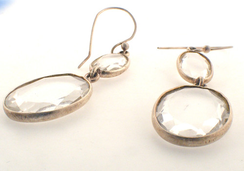 Sterling silver and quartz earrings. The total weight of the earrings are 7 grams.