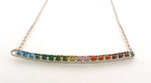 Sterling silver rainbow gem curved necklace. The total weight of the necklace is 3.5 grams.