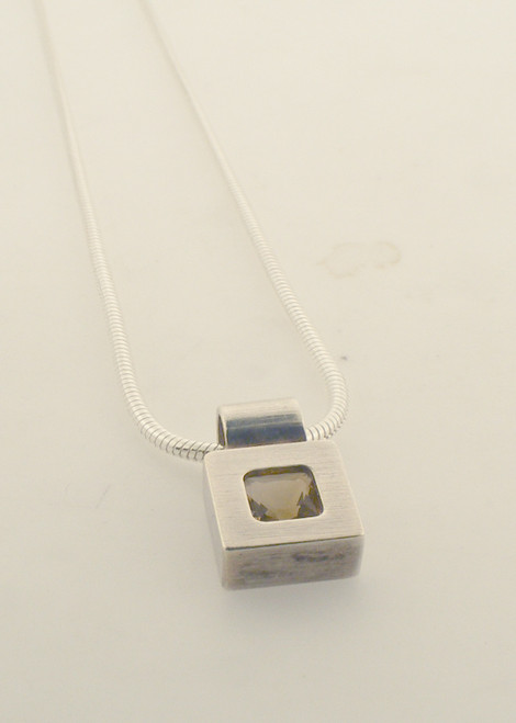 Sterling silver and citrine box necklace. The total weight of the necklace is 5.3 grams and is 17 inches in length.