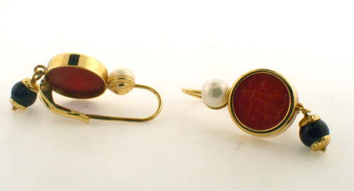 14 karat yellow gold black and white pearl and red stone earrings. The total weight of the earrings is 5.0 grams.