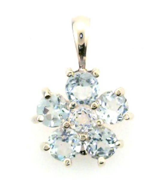 14 karat yellow gold blue topaz pendant weighing 1.9 grams