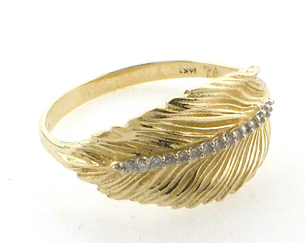 14 karat yellow gold leaf ring with diamonds weighing 3.1 grams. D~.10ct tw. size 8.25