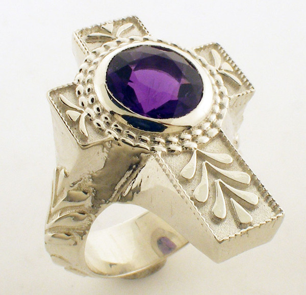 Sterling Silver Genuine Amethyst ring with 10mm Genuine Amethyst . Finger size 9.5. Clearance price is $425. regular price is $525. Sold as is. Sizing extra if necessary .