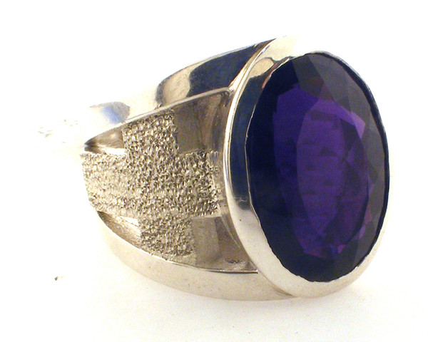 Sterling Silver / simulated amethyst 18 x 13mm. also available in 14k and with a genuine stone