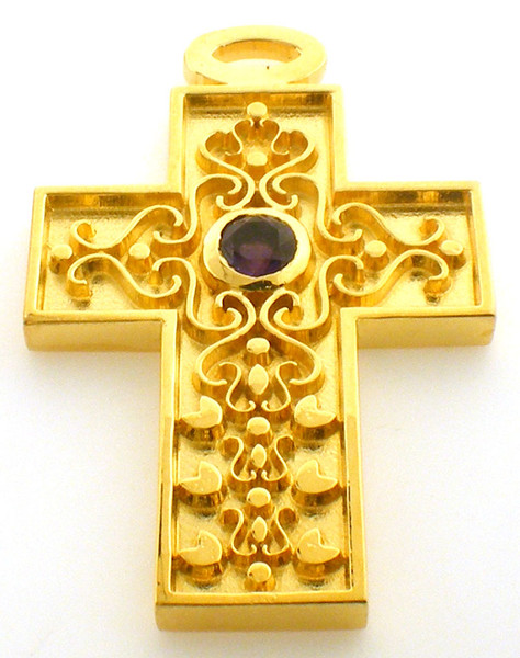 Sterlling Silver / Gold plate genuine Amethyst 2 inch cross Clearance priced at $375
