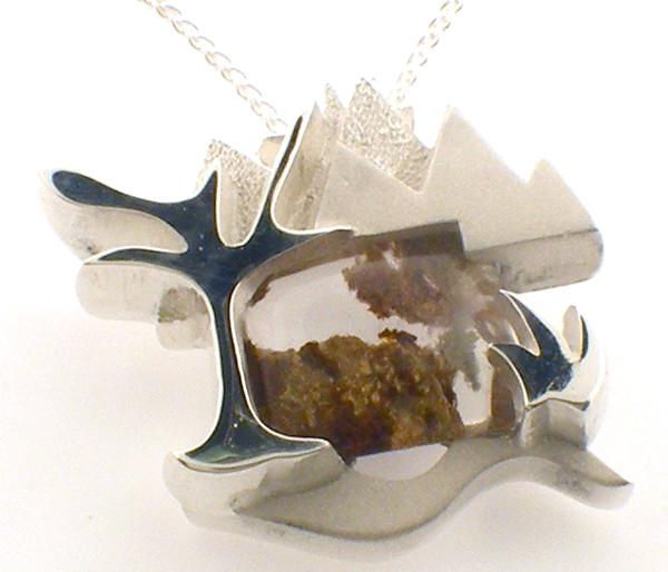 sterling silver moss agate custom pendant.