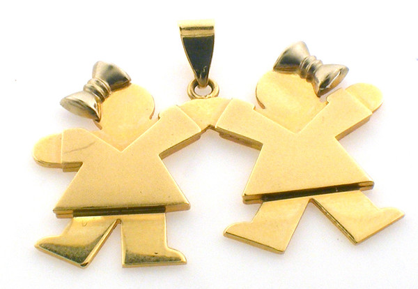 14 karat yellow gold pendant of two children holding hands. original sale price $850-40% = $510