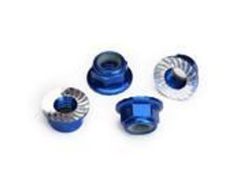 TRAXXAS 5mm flanged nylon locking (aluminum, blue-anodized, serrated) (4) (TRA8447)