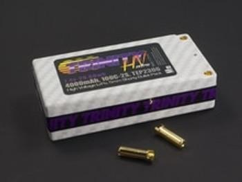 Team Trinity Hi-Voltage Shorty 2S 100C Hardcase LiPo Battery (7.4V/4000mAh) (5mm Bullets)