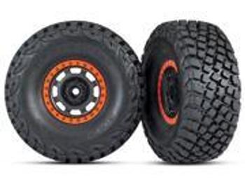 Traxxas Pre-Glued (Desert Racer wheels, black/orange beadlock, BFGoodrich® Baja KR3 tires) (2) (TRA8472)