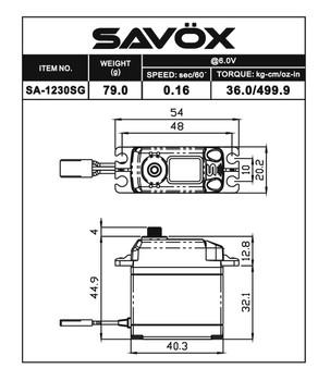 Savox SA-1230SG Tall Digital Steel Gear Servo (SAVSA1230SG