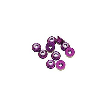 Ultimate Racing 3mm Aluminum Nylock Nut With Flange (Purple) (10pcs) (UR1503-P)