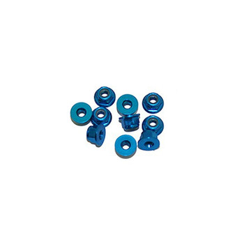 Ultimate Racing 3mm Aluminum Nylock Nut With Flange (Blue) (10pcs) (UR1503-A)