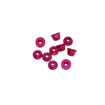 Ultimate Racing 3mm Aluminum Nylock Nut With Flange (Pink) (10pcs) (UR1503-PK)
