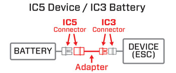 """Spektrum RC IC5 4"""" Device to IC3 Battery Charge Lead"""
