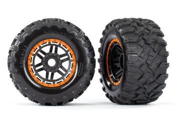 """Traxxas Maxx 2.8"""" All-Terrain Pre-Mounted Tires On Beadlocks (2) (Orange) (TRA8972T)"""