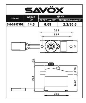 """Savox SH-0257MG Digital Metal Gear """"High Speed"""" Micro Servo"""