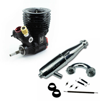 Ultimate Racing M-3X V2.0 .21 Nitro Racing Engine & 2141 PIPE COMBO