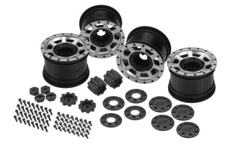 JConcepts Vengeance 2.2 Rock Crawler Wheels (4) (Black/Chrome) w/Caps & Adapters