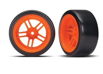 "Traxxas 4-Tec 2.0 1.9"" Rear Pre-Mounted Drift Tires (Orange) w/12mm Hex Split-Spoke Wheels (2)"