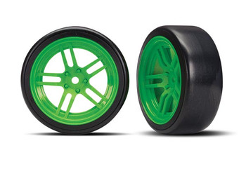 "Traxxas 4-Tec 2.0 1.9"" Front Pre-Mounted Drift Tires (Green) w/12mm Hex"