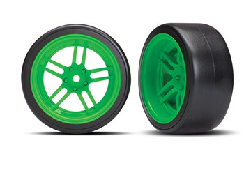 "Traxxas 4-Tec 2.0 1.9"" Rear Pre-Mounted Drift Tires (Green) w/12mm Hex"