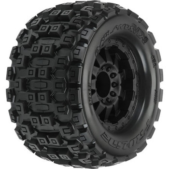 "Pro-Line Badlands 3.8"" Tire w/F-11 17mm 1/2"" Offset MT Wheel (2) (Black) (M2) (PRO10127-13)"