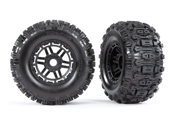 "Traxxas Maxx Tires & wheels, assembled, glued (black wheels, dual profile (2.8"" outer, 3.6"" inner), Sledgehammer™ tires, foam inserts) (2) (17mm splined)"