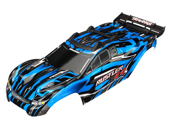 Traxxas Body, Rustler® 4X4, Blue/ window, grille, lights decal sheet