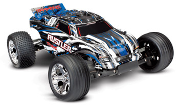 TRAXXAS Rustler®: 1/10 Scale Stadium Truck. Ready-To-Race with TQ 2.4GHz radio system and XL-5 ESC (fwd/rev). Includes: 7-Cell NiMH 3000mAh Traxxas® battery (Blue)