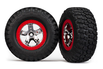 Traxxas Pre-Mounted BFGoodrich KM2 Tire w/Chrome Wheel (2) (Front) (Chrome/Red) (TRA5869)