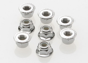 Traxxas 4mm Steel Flanged Serrated Nylon Locknut (8) (TRA3647)