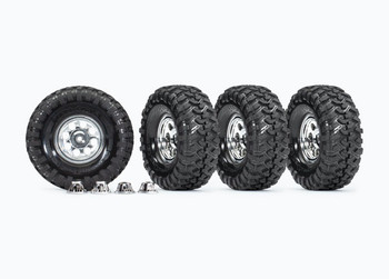"Traxxas 1.9"" Custom 8-Hole Polished Aluminum Finish Mag Wheels w/ Canyon Trail Tires (TRA8183X)"