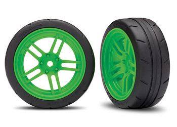 "Traxxas 4-Tec 2.0 1.9"" Response Front Pre-Mounted Tires w/Split-Spoke Wheels (Green) (2) (TRA8373G)"