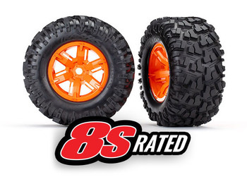 """Traxxas X-Maxx Assembled and Glued Maxx AT 8.0x4.0"""" Tires, 8s rated (Orange) (TRA7772T)"""