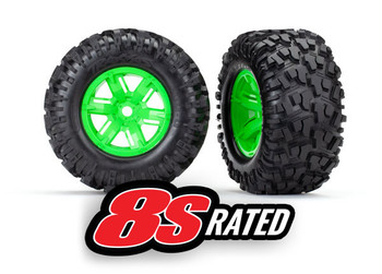 """Traxxas X-Maxx Assembled and Glued Maxx AT 8.0x4.0"""" Tires, 8s rated (Green) (TRA7772G)"""