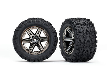 "Traxxas Rustler Talon EXT 2.8"" Pre-Mounted Tires w/RXT Wheels (2) (Black Chrome) (TRA6774X)"