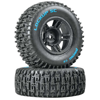 DuraTrax Lockup SC Tire C2 Mounted Black Front: Slash(2) (DTXC3670)