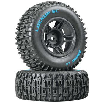 DuraTrax Lockup SC Tire C2 Mounted Black Front: Slash(2) (DTXC3670)