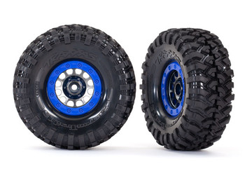 "Traxxas Method 105 1.9"" Black Chrome w/Blue Beadlock Wheels and Canyon Trail Tires (TRA8182)"
