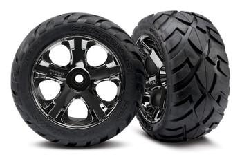 TRAXXAS Anaconda Pre-Mount All Star black chrome wheels (Rustler)
