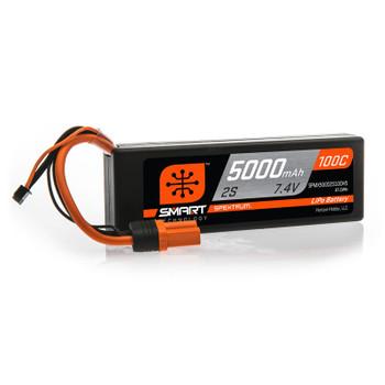 Spektrum RC 7.4V 5000mAh 2S 100C Smart Hardcase LiPo Battery: IC5